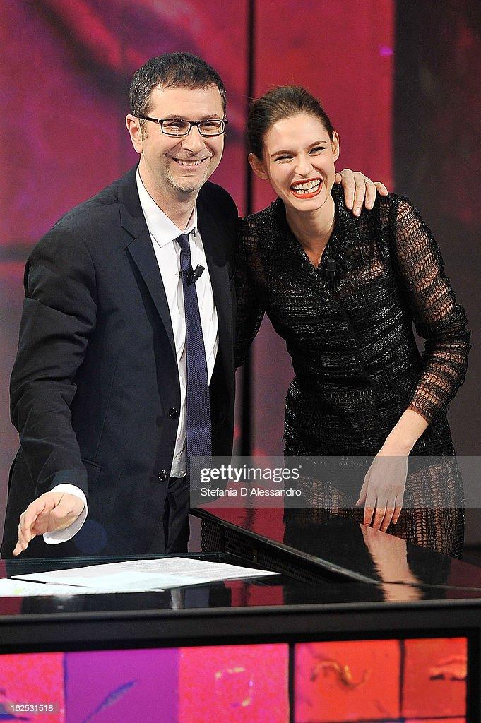 Fabio Fazio and Bianca Balti attend 'Che Tempo Che Fa' Italian TV Show on February 24, 2013 in Milan, Italy.