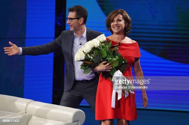 Fabio Fazio and Carla Signoris attend 'Che Tempo Che Fa' tv show on April 9 2017 in Milan Italy