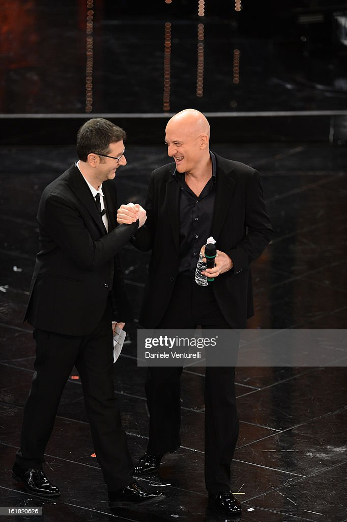 Fabio Fazio and Claudio Bisio attend the closing night of the 63rd Sanremo Song Festival at the Ariston Theatre on February 16, 2013 in Sanremo, Italy.