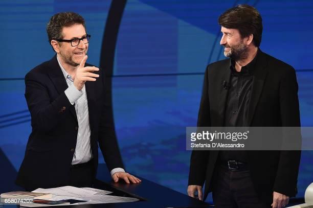 Fabio Fazio and Culture Minister Dario Franceschini attend 'Che Tempo Che Fa' tv show on March 26 2017 in Milan Italy