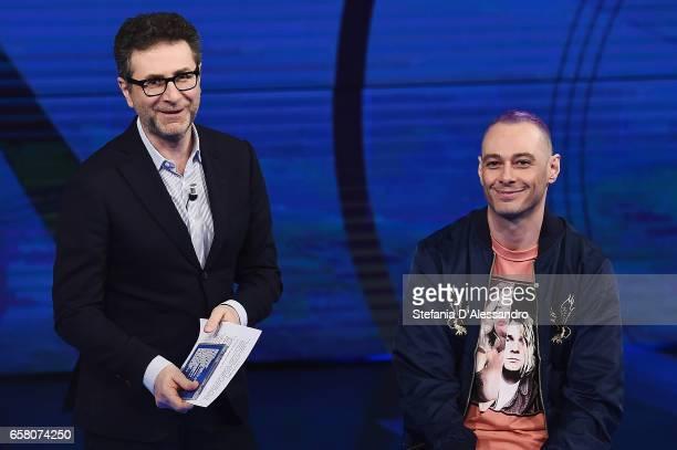 Fabio Fazio and Fabri Fibra attend 'Che Tempo Che Fa' tv show on March 26 2017 in Milan Italy