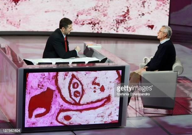 Fabio Fazio and Giulio Tremonti attend 'Che Tempo Che Fa' Italian TV Show on January 22 2012 in Milan Italy