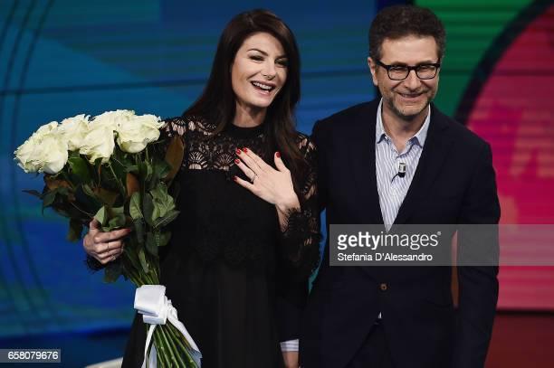 Fabio Fazio and Ilaria D'Amico attend 'Che Tempo Che Fa' tv show on March 26 2017 in Milan Italy