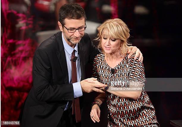 Fabio Fazio and Luciana Littizzetto attend 'Che Tempo Che Fa' TV Show on October 20 2013 in Milan Italy