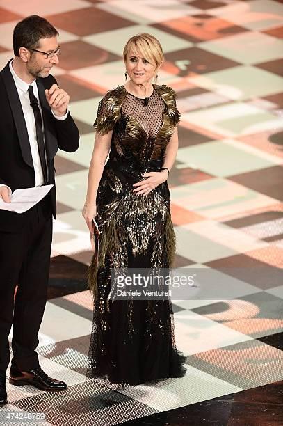 Fabio Fazio and Luciana Littizzetto attend closing night of the 64th Festival di Sanremo 2014 at Teatro Ariston on February 22 2014 in Sanremo Italy