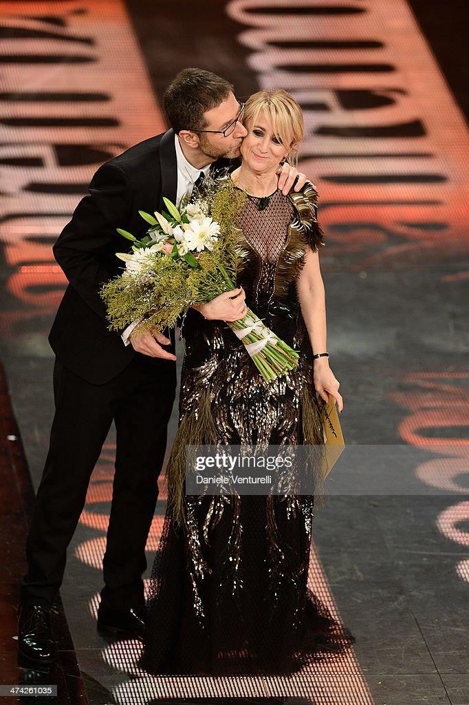 Fabio Fazio and Luciana Littizzetto attend closing night of the 64th Festival di Sanremo 2014 at Teatro Ariston on February 22, 2014 in Sanremo, Italy.