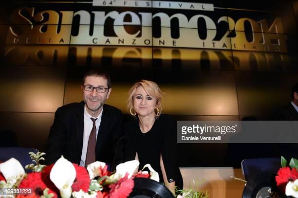 Fabio Fazio and Luciana Littizzetto attend the 64th San Remo Song Festival 2014 press conference at Teatro Ariston on February 17 2014 in Sanremo...