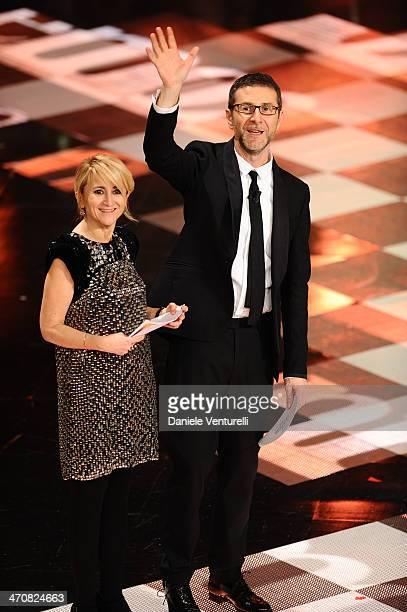 Fabio Fazio and Luciana Littizzetto attend the third night of the 64th Festival di Sanremo 2014 at Teatro Ariston on February 20 2014 in Sanremo Italy