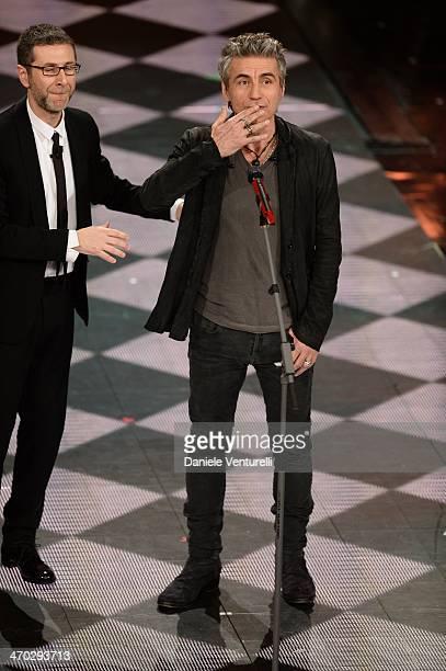 Fabio Fazio and Luciano Ligabue attend the opening night of the 64th Festival di Sanremo 2014 at Teatro Ariston on February 18 2014 in Sanremo Italy