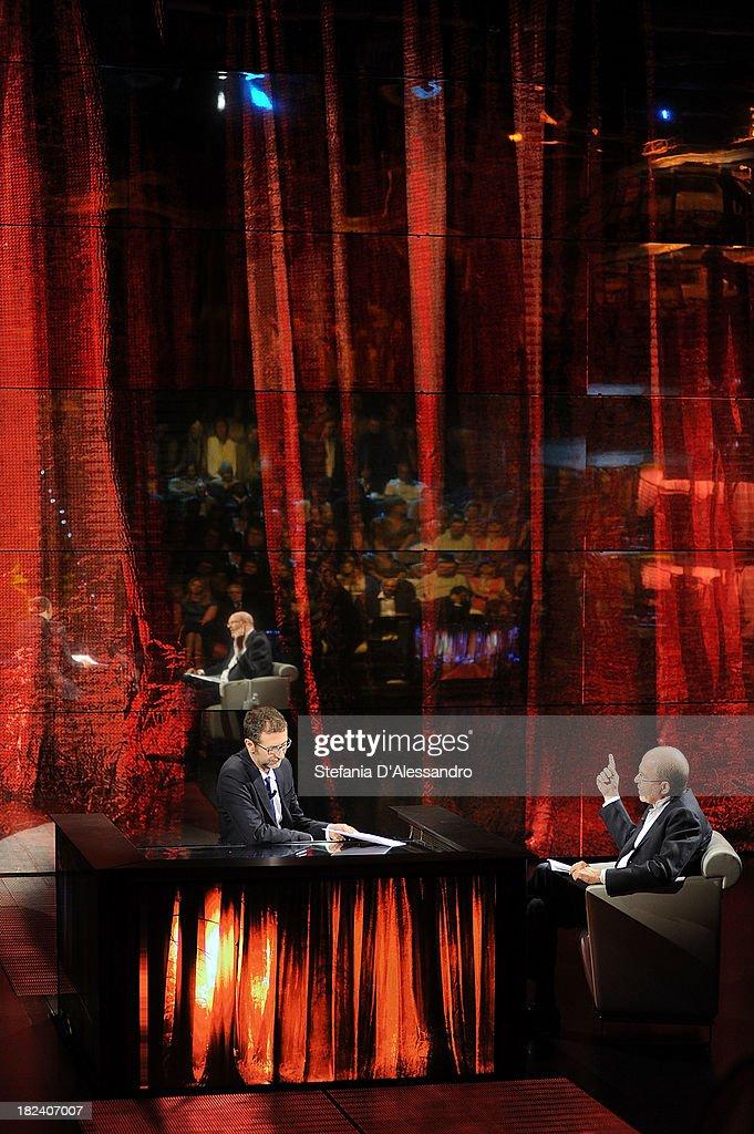 <a gi-track='captionPersonalityLinkClicked' href=/galleries/search?phrase=Fabio+Fazio&family=editorial&specificpeople=774725 ng-click='$event.stopPropagation()'>Fabio Fazio</a> and Massimo Gramellini attend 'Che Tempo Che Fa' TV Show on September 29, 2013 in Milan, Italy.