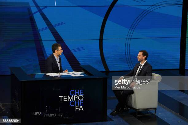 Fabio Fazio and Paul Baccaglini attend 'Che Tempo Che Fa' tv show on April 2 2017 in Milan Italy