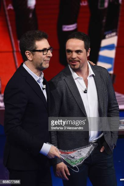 Fabio Fazio and Peter Fill attend 'Che Tempo Che Fa' tv show on March 26 2017 in Milan Italy