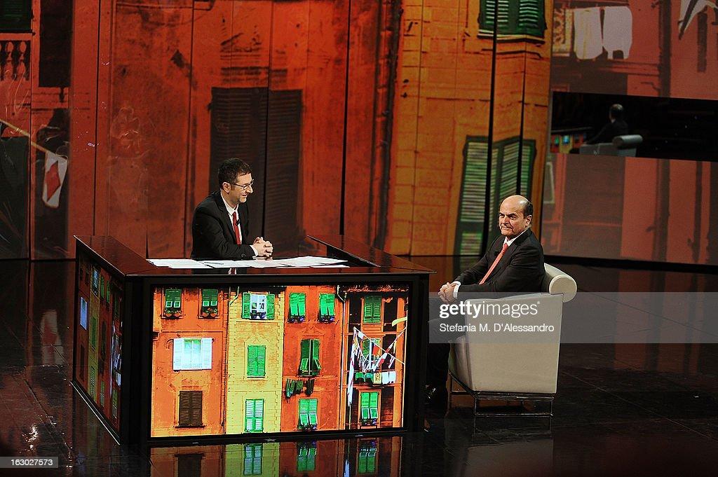 Fabio Fazio and Pierluigi Bersani attend 'Che Tempo Che Fa' Italian TV Show on March 3 2013 in Milan Italy