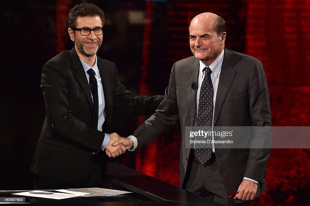 Fabio Fazio and Pierluigi Bersani attend ''Che Tempo Che Fa' TV Show on February 1 2015 in Milan Italy
