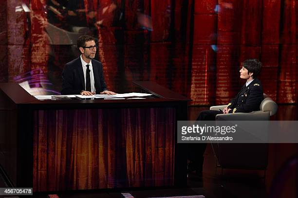 Fabio Fazio and Samantha Cristoforetti attend 'Che Tempo Che Fa' Italian Tv Show on October 5 2014 in Milan Italy