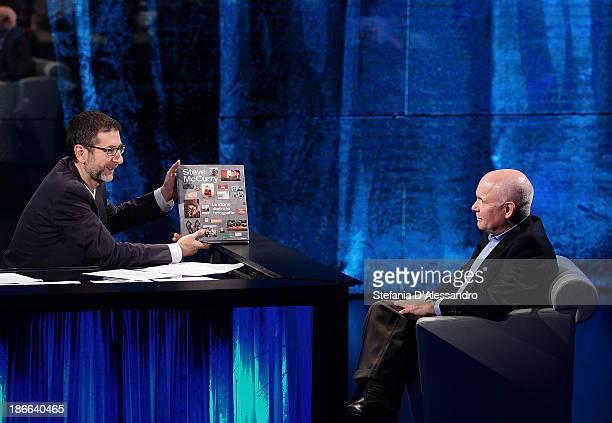 Fabio Fazio and Steve McCurry attend 'Che Fa' TV Show on November 2 2013 in Milan Italy