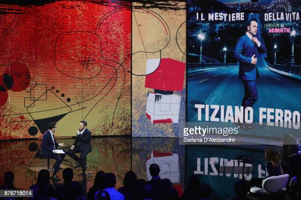 Fabio Fazio and Tiziano Ferro attend 'Che Tempo Che Fa' Tv Show at Rai Milan Studios on November 19 2017 in Milan Italy