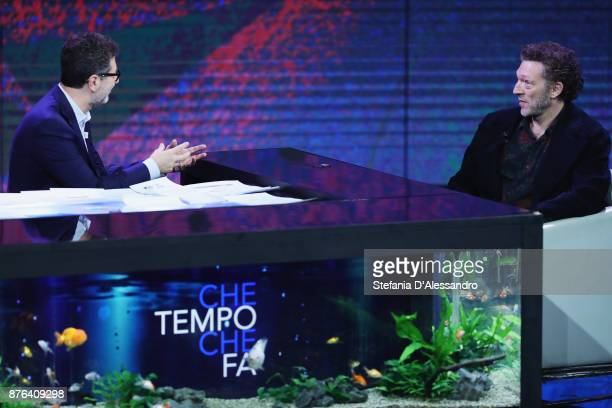 Fabio Fazio and Vincent Cassel attend 'Che Tempo Che Fa' Tv Show at Rai Milan Studios on November 19 2017 in Milan Italy