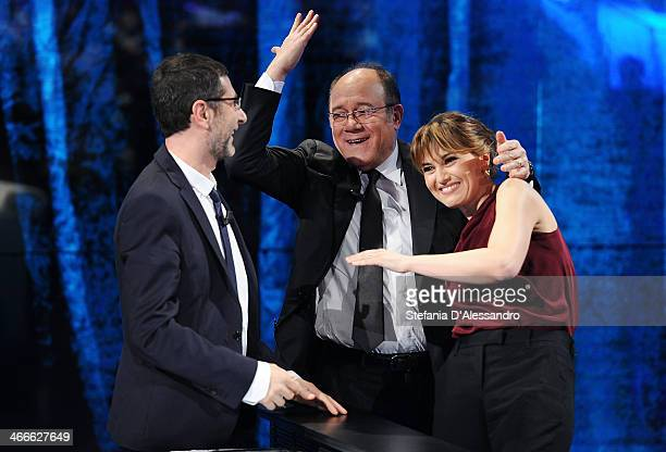 Fabio Fazio Carlo Verdone and Paola Cortellesi attend 'Che Tempo Che Fa' Italian TV Show on February 2 2014 in Milan Italy