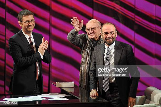 Fabio Fazio Francesco Rosi and Giuseppe Tornatore attend 'Che Tempo Che Fa' Italian TV Show on December 30 2012 in Milan Italy