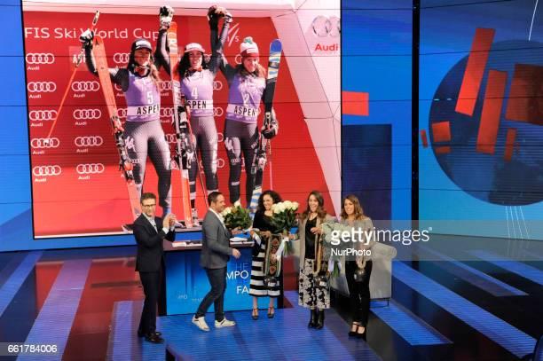 Fabio Fazio Italian tv presenter Peter Fill Italian alpine skier Federica Brignone Italian alpine skier Sofia Goggia Italian alpine skier and Marta...