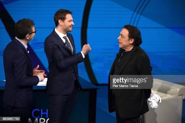 Fabio Fazio Paul Baccaglini and Nino Frassica attend 'Che Tempo Che Fa' tv show on April 2 2017 in Milan Italy
