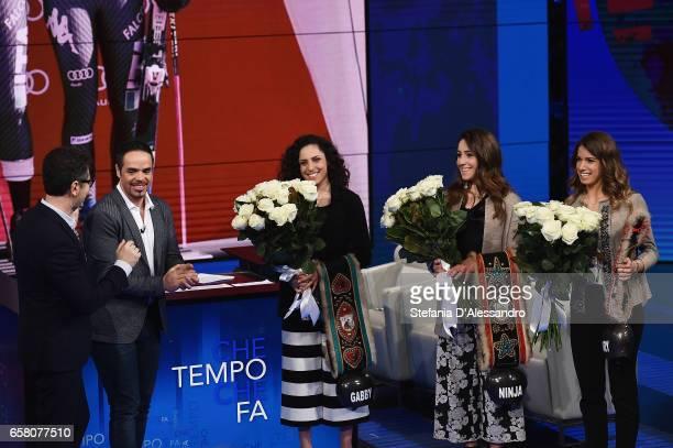 Fabio Fazio Peter Fill Federica Brignone Sofia Goggia and Marta Bassino attend 'Che Tempo Che Fa' tv show on March 26 2017 in Milan Italy
