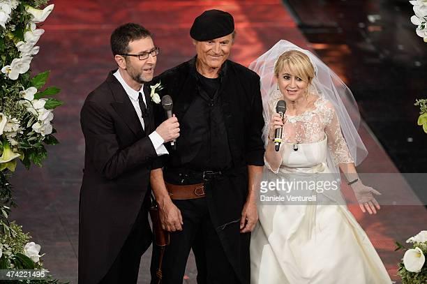 Fabio Fazio Terence Hill and Luciana Littizzetto attend the closing night of the 64th Festival di Sanremo 2014 at Teatro Ariston on February 22 2014...