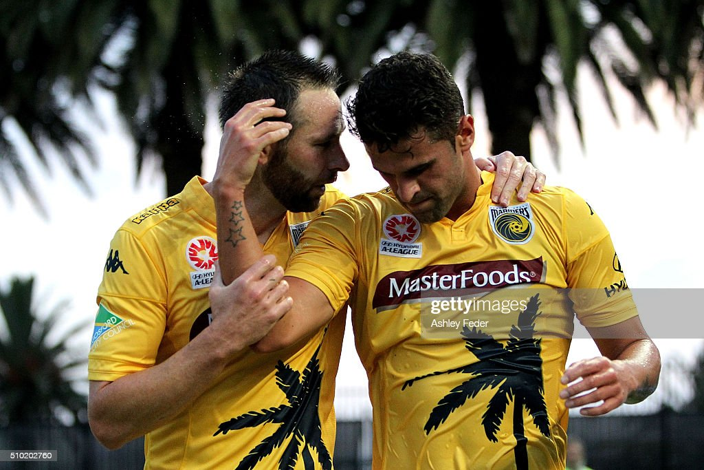 Fabio Ferreira and Josh Rose of the Mariners celebrate a goal during the round 19 A-League match between the Central Coast Mariners and Adelaide United at Central Coast Stadium on February 14, 2016 in Gosford, Australia.