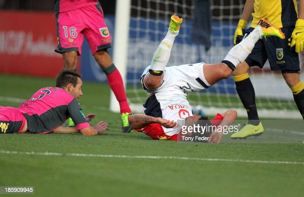 Fabio Ferreira of Adelaide falls over during the round three ALeague match between the Central Coast Mariners and Adelaide United at Bluetongue...