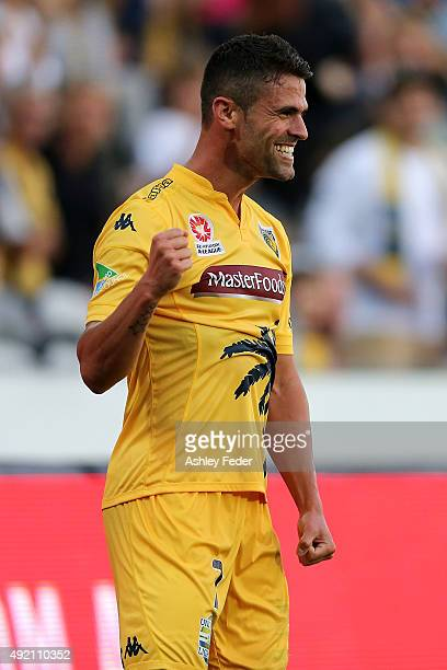 Fabio Ferreira of the Mariners celebrates a goal during the round one ALeague match between the Central Coast Mariners and the Perth Glory at Central...