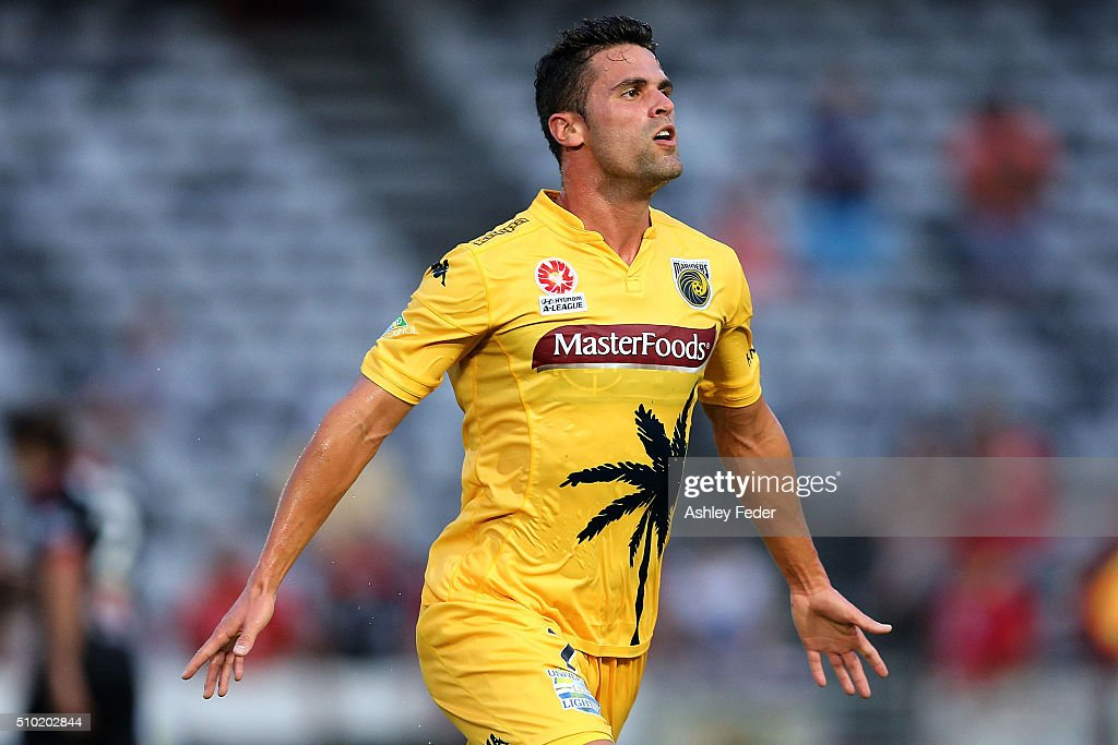 Fabio Ferreira of the Mariners celebrates his goal with team mates during the round 19 A-League match between the Central Coast Mariners and Adelaide United at Central Coast Stadium on February 14, 2016 in Gosford, Australia.