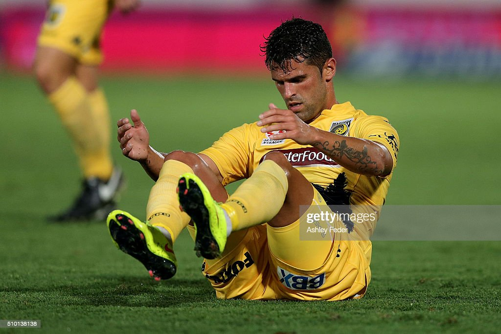 Fabio Ferreira of the Mariners lays on the ground during the round 19 A-League match between the Central Coast Mariners and Adelaide United at Central Coast Stadium on February 14, 2016 in Gosford, Australia.