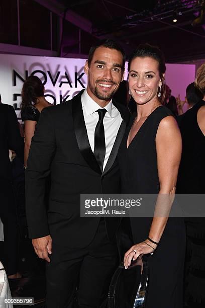 Fabio Fognini and Flavia Pennetta attend the Milano Gala Dinner benefitting the Novak Djokovic Foundation presented by Giorgio Armani at Castello...