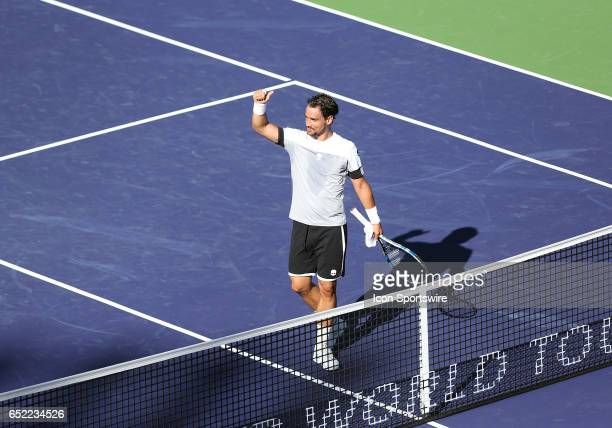 Fabio Fognini celebrates after defeating Jo Wilfred Tsonga during the second round of the BNP Paribas Open on March 11 at the Indian Wells Tennis...