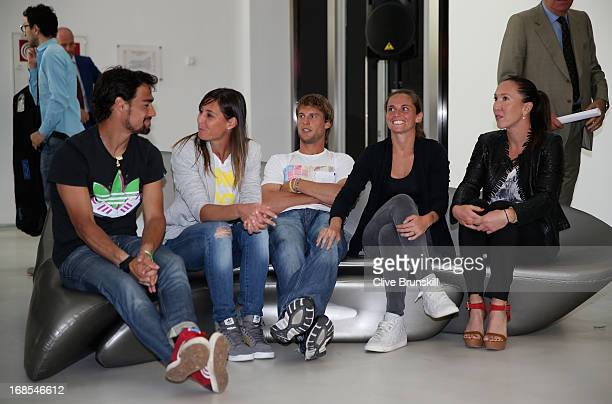 Fabio Fognini Italy Andreas Seppi Italy Flavia Pennetta Italy Roberta Vinci Italy and Jelena Jankovic Serbia pose for a photograph at the tournament...