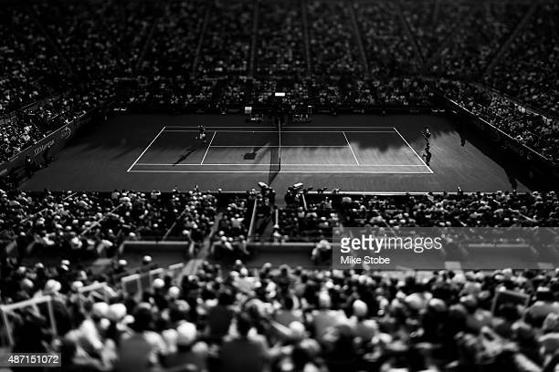 Fabio Fognini of Italy and Feliciano Lopez of Spain play during their Men's Single Fourth Round match on Day Seven of the 2015 US Open at the USTA...