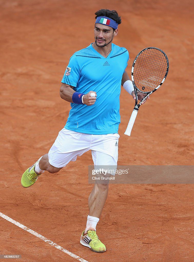 Fabio Fognini of Italy celebrates a point against James Ward of Great Britain during day one of the Davis Cup World Group Quarter Final match between Italy and Great Britain at Tennis Club Napoli on April 4, 2014 in Naples, Italy.