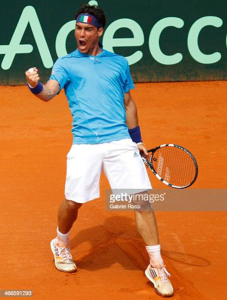 Fabio Fognini of Italy celebrates a point during a match between Argentina and Italy as part of day 3 of the Davis Cup at Patinodromo Stadium on...