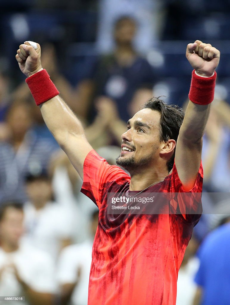 Fabio Fognini of Italy celebrates after defeating Rafael Nadal of Spain on Day Five of the 2015 US Open at the USTA Billie Jean King National Tennis Center on September 4, 2015 in the Flushing neighborhood of the Queens borough of New York City.