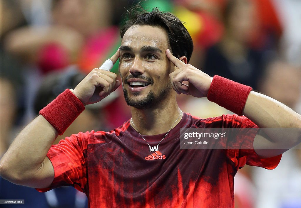 <a gi-track='captionPersonalityLinkClicked' href=/galleries/search?phrase=Fabio+Fognini&family=editorial&specificpeople=656601 ng-click='$event.stopPropagation()'>Fabio Fognini</a> of Italy celebrates after defeating Rafael Nadal of Spain on day five of the 2015 US Open at USTA Billie Jean King National Tennis Center on September 5, 2015 in the Flushing neighborhood of the Queens borough of New York City.