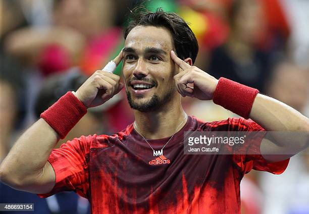 Fabio Fognini of Italy celebrates after defeating Rafael Nadal of Spain on day five of the 2015 US Open at USTA Billie Jean King National Tennis...