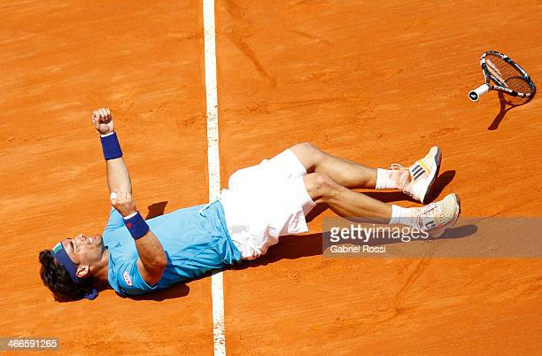 Fabio Fognini of Italy celebrates after winning the fourth point match between Argentina and Italy as part of day 3 of the Davis Cup at Patinodromo...