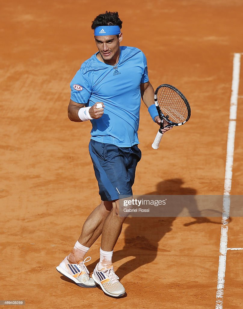 <a gi-track='captionPersonalityLinkClicked' href=/galleries/search?phrase=Fabio+Fognini&family=editorial&specificpeople=656601 ng-click='$event.stopPropagation()'>Fabio Fognini</a> of Italy celebrates after winning the match between <a gi-track='captionPersonalityLinkClicked' href=/galleries/search?phrase=Fabio+Fognini&family=editorial&specificpeople=656601 ng-click='$event.stopPropagation()'>Fabio Fognini</a> and Pablo Andujar as part of ATP Buenos Aires Copa Claro on February 14, 2014 in Buenos Aires, Argentina.