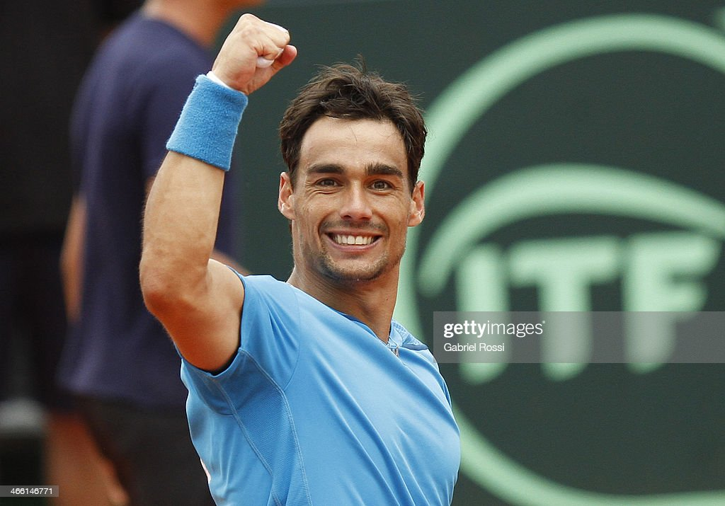 Fabio Fognini of Italy celebrates after wins the second point during a match between Argentina and Italy as part of the Davis Cup at Patinodromo Stadium on January 31, 2014 in Mar del Plata, Argentina.