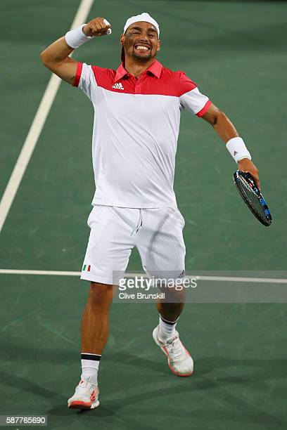 Fabio Fognini of Italy celebrates during the men's second round singles match against Benoit Paire of France on Day 4 of the Rio 2016 Olympic Games...