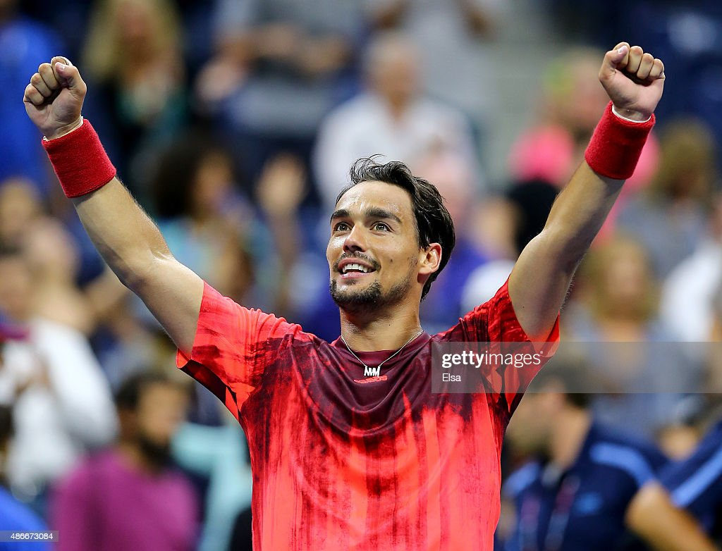 Fabio Fognini of Italy celebrates his match win over Rafael Nadal of Spain on Day Five of the 2015 US Open at the USTA Billie Jean King National Tennis Center on September 4, 2015 in the Flushing neighborhood of the Queens borough of New York City.