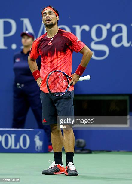 Fabio Fognini of Italy celebrates his match win over Rafael Nadal of Spain on Day Five of the 2015 US Open at the USTA Billie Jean King National...