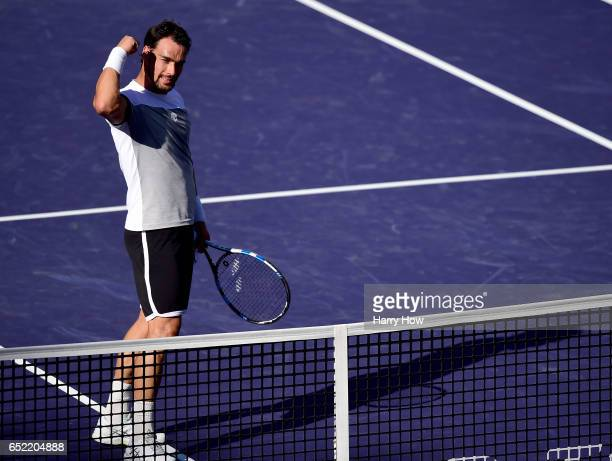 Fabio Fognini of Italy celebrates his win over JoWilfried Tsonga of France during the BNP Paribas Open at Indian Wells Tennis Garden on March 11 2017...