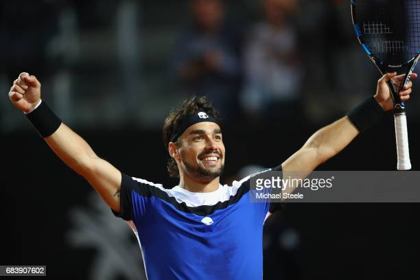 Fabio Fognini of Italy celebrates match point during his second round match against Andy Murray of Great Britain on Day Three of The Internazionali...